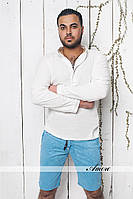 Рубашка мужская ткань лен на пуговицах до середины груди (цвета голубой, белый.  ввлад № 28-13