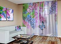 """ФотоТюль """"Сирень и бабочки"""" (2,5м*3,0м, на длину карниза 2,0м)"""