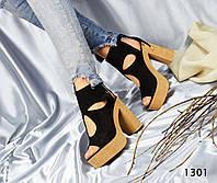 Женские босоножки на каблуке 12 см, натуральная замша, черные /  босоножки женские, модные