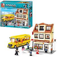 Конструктор SLUBAN M38-B 0333 школа, автобус, кор., 42,5 см (BOC009488)
