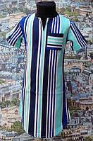 Детское летнее платье в полосочку, р. 116-134, голубое
