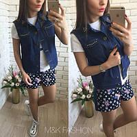 Женский модный джинсовый жилет (2 варианта)