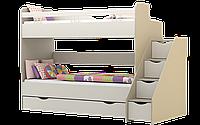 Кровать 2-ярусная с лесницей без перил Лимпопо