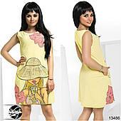 Женское летнее платье желтого цвета с принтом. Модель 13486.