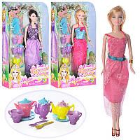 Кукла 85118 29см, 3 вида, посуда-чайный сервиз, в слюде, 18-33-6см