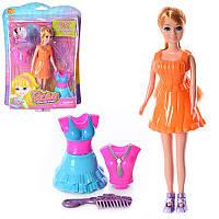 Кукла 86129 22,5см, платье-пластик, расческа, на листе, 22-30,5-7см