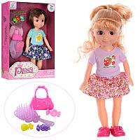 Кукла 88005 25см, сумочка, расческа, заколочки3шт, 2 вида, в кор-ке, 19-28-6,5см
