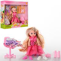 Кукла DEFA 6010 10см, наряды 2шт, стул, аксессуары, в кор-ке, 17,5-16,5-4,5см