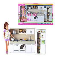 Кукла DEFA 6085 кухня, продукты, посуда, 2 вида, свет, в кор-ке, 50-32-9см