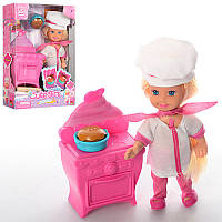 Кукла K899-18 повар, 11,5см, плита с духовкой 8,5см, в кор-ке, 12-16-4,5см