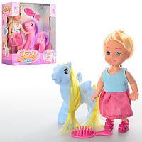 Кукла K899-33 11,5см, лошадка 7,5см, расческа, 2 вида, в кор-ке, 12--14-5,5см