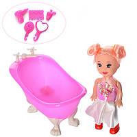 Кукла YMD905 10см, ванна 10см, аксессуары, микс цветов, в кульке, 10-10-5см