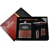 Подарочный набор с флягой для мужчин 5в1 Фляга,Зажигалка,Ручка,Нож,Брелок