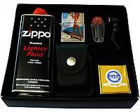 Бензиновая зажигалка и заправка в оригинальной упаковке, черный цвет