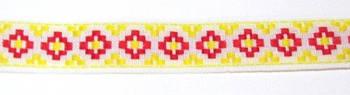 Лента-вышиванка Ромб 16 мм, красно-желтая