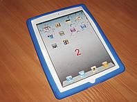 Силиконовый чехол накладка для планшетов iPad 2, iPad 3, iPad 4. Синий цвет.