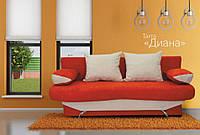 Тахта Диана мех., трансформации Еврокнижка в ткани Мисс-35 оранж подушки и щиток Мисс-02 белый