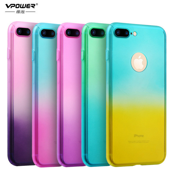 Накладка Vpower For iPhone 7 Front and Back Gradient Case Coque Blue Yellow