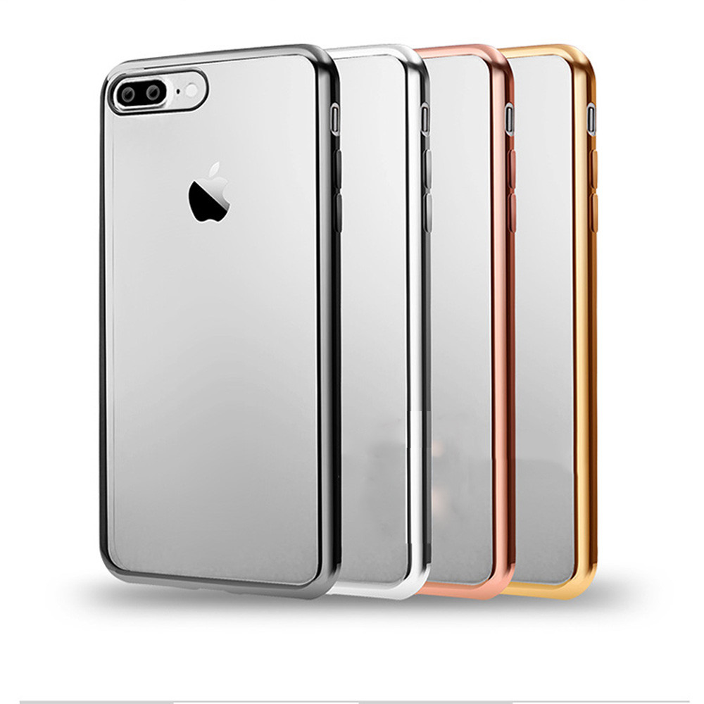 Накладка Vpower For Apple iPhone 7 Luxury Plating Frame Soft TPU Silicone Clear Silver