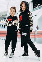 Детская толстовка черная с рукавами  миллитари  MANAN
