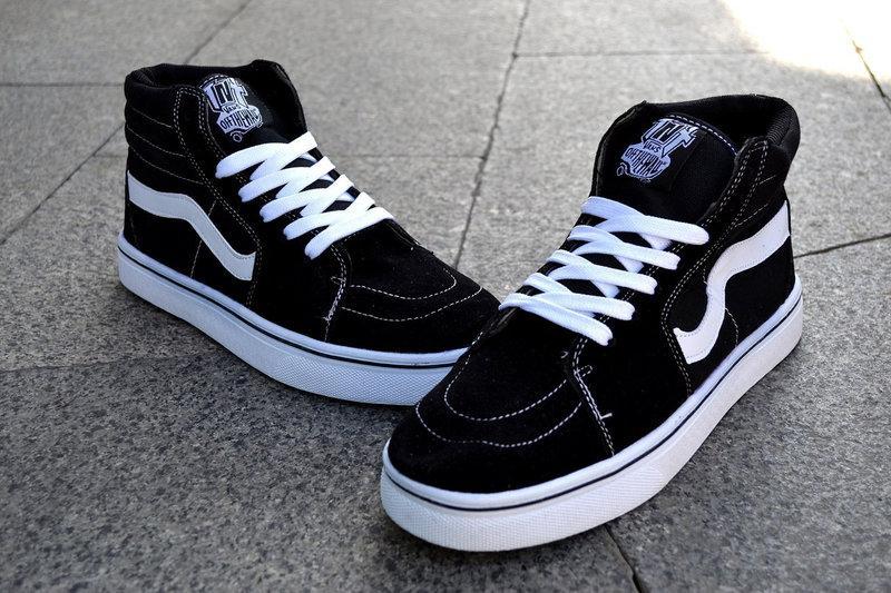 Кеды Vans Old Skool высокие унисекс черные с белым - Интернет-магазин