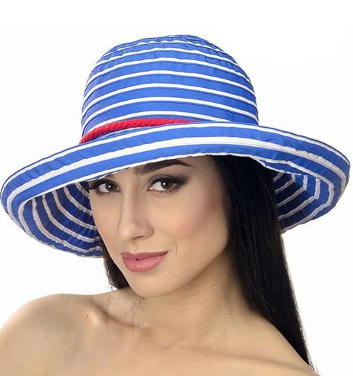 Женская  летняя шляпа голубая с белой полоской