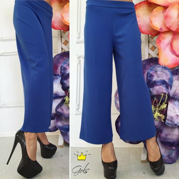 Женские  модные укороченные брюки.синий