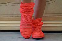 Летние стильные оранжевые сапожки