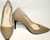 Туфли лодочки El Passo, кожа, лак, шпилька 10 см, бежевые