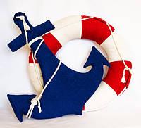 Текстильные предметы интерьера в морском стиле