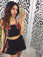 Костюм женский летний шорты+топ ткань креп шифон черный