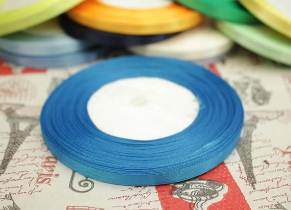 Лента атласная голубая бирюза 6мм, моток 33м., фото 2
