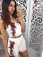 Костюм женский летний шорты+топ ткань креп шифон белый