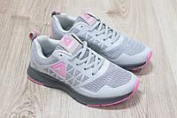 Женские кроссовки Reebok для бега материал:текстиль+сетка Вьетнам размеры 36-41 серо-розовые