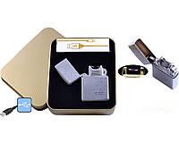 Электроимпульсная USB зажигалка Jin Lun №4838-2, в металлической коробке, новейшие технологии для курильщиков