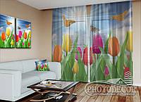 """ФотоТюль """"Тюльпаны с бабочками"""" (2,5м*4,5м, на длину карниза 3,0м)"""