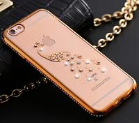 Чехол с Павлином и золотым бампером с камнями для Iphone 6 6