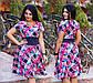 """Элегантное летнее женское платье в больших размерах 1264 """"Креп Клетка Арабески"""" в расцветках, фото 4"""
