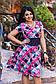 """Элегантное летнее женское платье в больших размерах 1264 """"Креп Клетка Арабески"""" в расцветках, фото 8"""