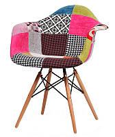 Кресло Прайз (Тауэр Вуд) пэчворк, Ретро кресло на буковых ножках, кресла для Horeca