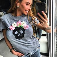 Женская красивая футболка с черепом и цветами HAND MADE