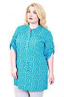 Рубашка женская размер плюс Штапель-пояс голубой якорь 50-56