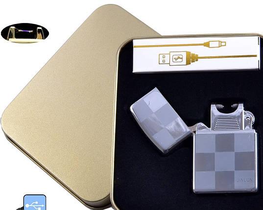 Электроимпульсная USB зажигалка Jin Lun №4838-5, интересный и необычный подарок, модный аксессуар курильщика, фото 2