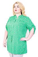 Рубашка женская размер плюс Штапель-пояс бирюза якорь 50-56