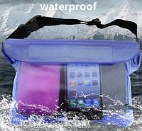 Водонепроницаемый чехол сумка на пояс для телефона, планшета, документов. Синий цвет