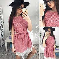 Платье женское 33553 Хлопковое платье с кружевом