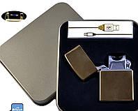 Электроимпульсная USB зажигалка Jin Lun №4839-1, в металлической упаковке, прикуриванием сигарету без проблем