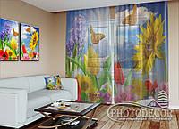 """ФотоТюль """"Цветы и бабочки"""" (2,5м*3,0м, на длину карниза 2,0м)"""