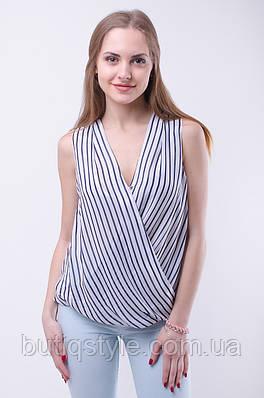 Модная шифоновая блузка в полоску на запах
