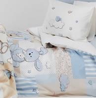 Детское постельное белье  9 предметов KARACA HOME HONEY BUNNY MAVI с защитой и одеялом